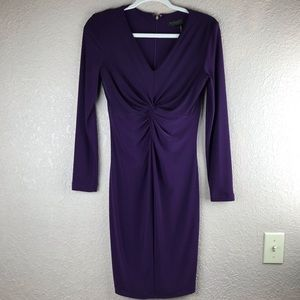 Donna Karan NY purple v neck knot dress sz 4